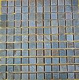 [石材 鉄平石 モザイクタイル]綺麗なイエロー鉄平石モザイクタイルst41