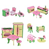 MonkeyJack Lot 16 Pieces Wooden Dollhouse Miniatures Furnitures Puzzle Models for Baby's Room Kitchen Bathroom Decoration Children Kids Toys (Tamaño: Refrigerator: 7.2*5*2.9cm/2.8*2*1.1inch)