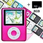 Elecmall Economic Red Mp3 MP4 Player - 8G Micro SD Card included - Music Player Video Player with Voice Record Function