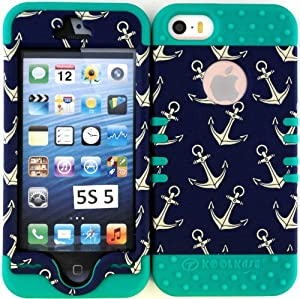 Wireless Fones Heavy Duty Hybrid Case for Iphone 5, 5S, 5th Generation - Hard & Soft Rubber Hybrid High Impact Case Teal Anchor Pattern