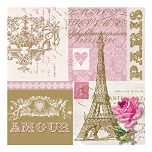 Paperproducts Design 7845 PPD High Quality Paper Beverage Napkin, 5 by 5-Inch, Je t'aime Paris