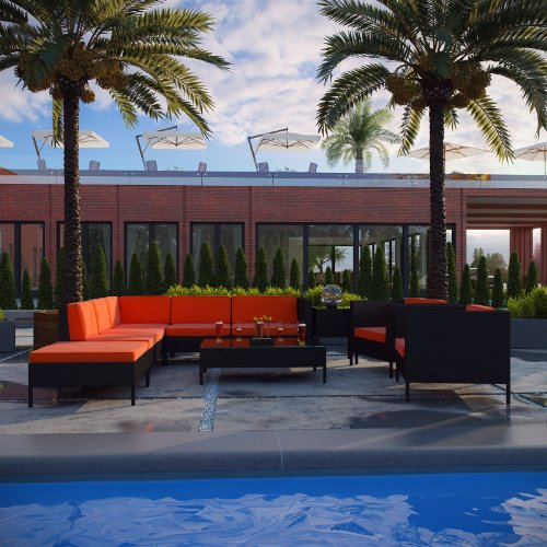 LexMod La Jolla 9-Piece Outdoor Rattan, Espresso with Orange Cushions