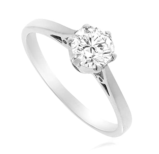 one carat diamond (CZ) white gold ring