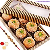 Rakhi Gifts Sweets- Gold And Brown Mathura Peda Box
