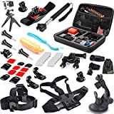 EEEKit 31-in-1 Travel Kit for GoPro Hero 4 Black/Silver HD 3+ 3, Large Size Protective Bag + Chest Belt Strap + Head Belt Strap + Extendable Handle Monopod + Suction Cup Mount Holder + Floating Handle Grip + Wrist Holder + Bike Handlebar Holder + Tripod Stand + 2 Pack Surface J-Hook + 2 Pack Curved Adhesive Mounts + 3 Pack Flat Adhesive Mounts + 2 PCS Curved Surface + 3 PCS Flat Surface + Surface Mount + 3 Pack Tripod Adapter + 5 Pack Long Screw + 12 PCS Anti Fog Inserts + EEEKit Pouch