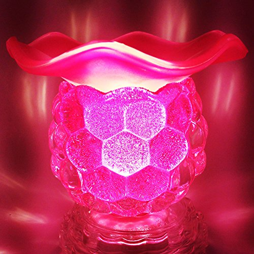 Electric Fragrance Oil Lamp, Essential Oil Burner with 35 Watt Halogen Bulb and Touch Dimmer Switch for Room Decoration and Relaxation, Glass Material, Pink