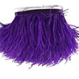 Sowder Ostrich Feathers Trims Fringe With Satin Ribbon Tape Dress Sewing Crafts Costumes Decoration Pack of 2 yards(purple) (Color: Purple)