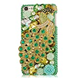 Mavis's Diary Green Luxury 3D Handmade Full Bling Crystal & Rhinestone Metal Golden Peacock Design Clear Cover Case with Soft Clean Cloth for Ipod Touch 5 5th Generation