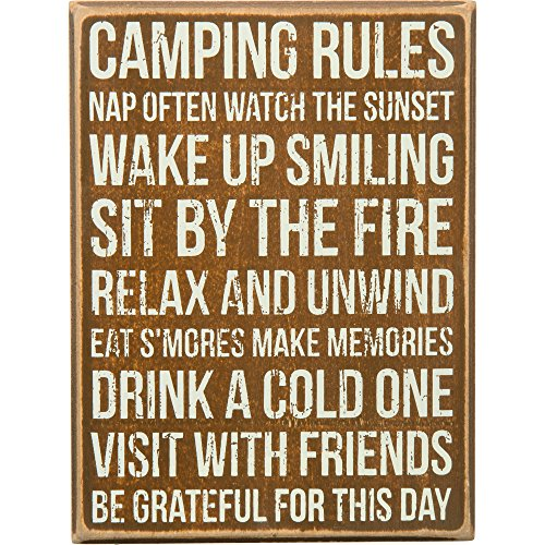 Camping Rules - Decorative Box Sign 8-in x 6-in
