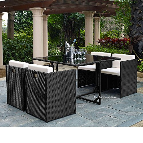 Outdoor-Garden-4-Seat-Cube-Dining-Chair-Table-Set-Black-Rattan