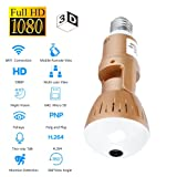 OMZBM 360 Panoramic Fisheye Wireless IP Camera,1080P HD Wifi Remote Security Surveillance Camera VR 3D Home Light Bulb Monitor Controlled By Mobile APP