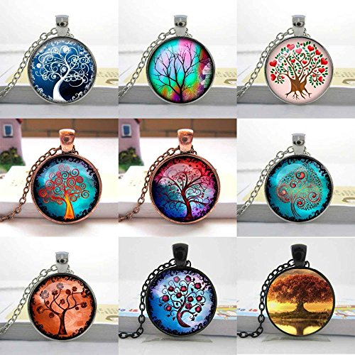 Pretty Lee 1 Pc Free Shipping Green Purple Copper Wish Moonrise Tree Art Pendant Charmmoon And Tree Jewelry Tree Of Life Necklace