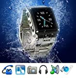 Silber entriegelt Armbanduhr Handy wasserdichte W818 Touchscreen-Spion-Kamera MP3 MP4 JAVA