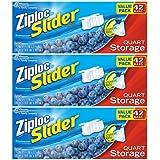 Ziploc Slider Storage Bags Quart Value Pack 42 ct (Pack Of 3)