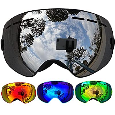 ZIONOR® Lagopus 13Mini Kids Snowmobile Snowboard Skate Ski Goggles with 100% UV Protection Anti-fog Detachable Wide Angle Double Panoramic Lens for Youth