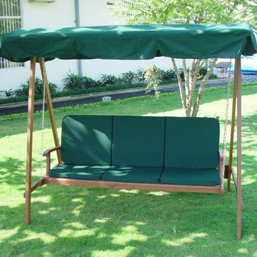 Garden Furniture Cushion & Backrest For Springdale 3 Seat Bench Swing Hammock Seat In Green Green