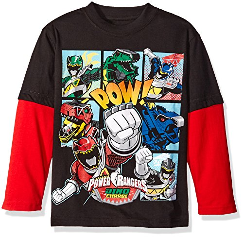 Power Rangers Boys' Little Boys' Dino Charge Group Long Sleeve Two-Fer T-Shirt, Black/Red, Small-4 (Power Ranger Pajamas compare prices)