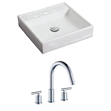 "American Imaginations AI-15167 Square Vessel Set with CUPC Faucet, 17.5"" x 17.5"", White"