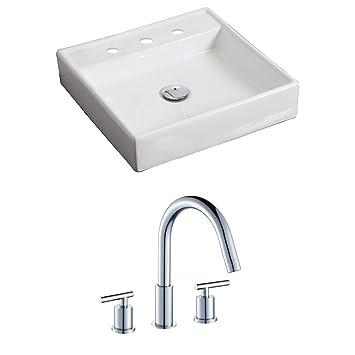 "American Imaginations AI-15167 Square Vessel Set with CUPC Faucet, 17.5"" x 17.5"", White"
