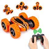 Distianert WJL00039  4WD Stunt Car High Speed Off Road 2.4G Remote Control Truck LED Headlights Electric Race Double Sided Car Tank Vehicle 360 Degree  Spins, Orange (Color: Orange, Tamaño: Rc Car)
