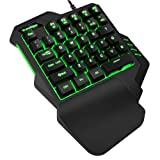 TESHIUCK One-Handed Gaming Keyboard, RGB Led Backlit USB Wired Mini Game keypad, 35 programmable Keys Portable Gamer Small Gameboard for LOL/PUBG/Fortnite/Wow/Dota/OW (Color: black)
