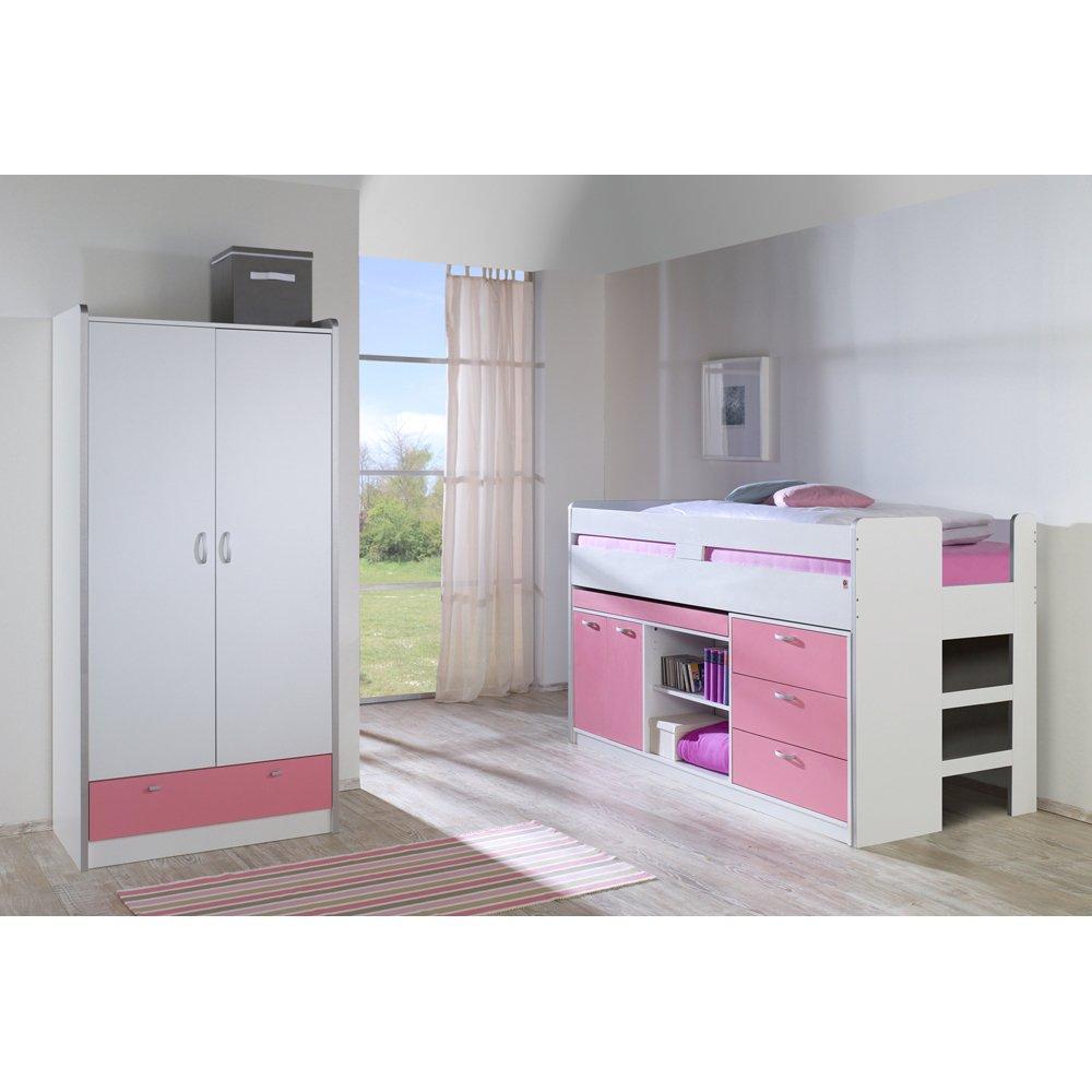 Relita Set: Bonny, Hochbett und Kleiderschrank, 2 Türen, weiß/rosa günstig online kaufen