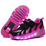 Nsasy YCOMI Girl's Boy's LED Light Up Single Wheel Double Wheel Shoes Roller Skate Shoes (37 M EU / 4.5 M US Big Kid) (Color: Black / Rose Red, Tamaño: 37 M EU=4.5 M US Big Kid)