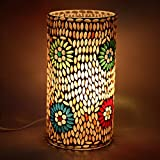 EarthenMetal Handcrafted Cylindrical Shaped Mosaic Design Table Glass Lamp