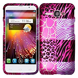 HR Wireless Rubberized Design Cover for Alcatel One Touch Sonic - Retail Packaging - Pink Exotic Skins