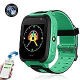 TKSTAR Kids Smart Watch with Camera Children LBS AGPS Realtime Worldwide Locator Anti Lost Waterproof Smartwatch Sim Card Voice Intercom Camera Wearable Device TKS4 (Green) (Color: Green)