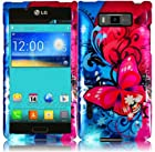 Demure Butterflies Hard Case Cover Premium Protector for LG OPTIMUS SHOWTIME L86C / Ultimate (by US Cellular / Net 10 / Straighttalk) with Free Gift Reliable Accessory Pen