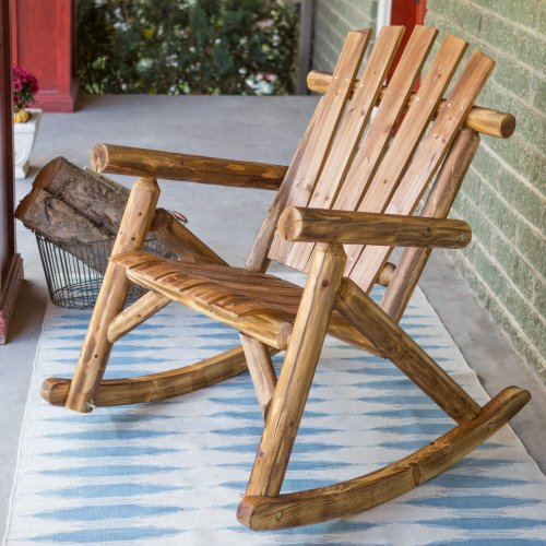 Coral Coast Log Rocking Chair front-506660