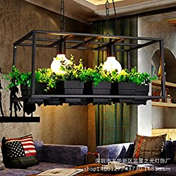 Pots plants and flowers chandelier wrought iron lamps black
