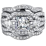 FENDINA Women 3 PCS Vintage 18K White Gold Plated Wedding Engagement Rings Set Princess Cut White CZ Promise Rings for Couples, Size 10