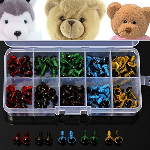 100pcs 8mm 5 Colors Washers Plastic Safety Eyes Teddy Bear Doll Puppets Toys Handmade Craft DIY Tool (Kidcraft Washer compare prices)