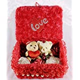 Beautiful Red Love Box With Couple Teddy Bears