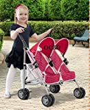SILVER CROSS POP DUO TWIN DOLLS PRAM BUGGY STROLLER RED PUSHCHAIR NEW