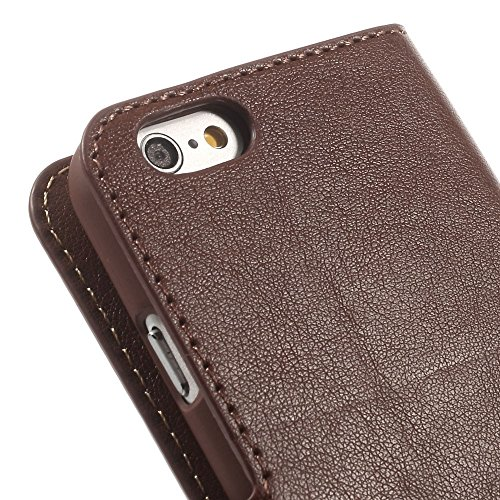 JUJEO iPhone 6 4.7-Inch Leather Wallet Cover with Stand - Non-Retail Packaging - Coffee
