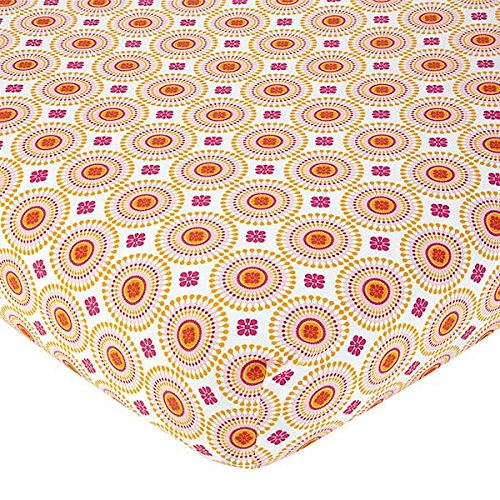 Happy Chic Baby Jonathan Adler Party Elephant Crib Sheet, Pink/Orange/White
