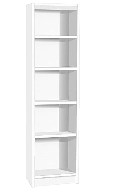 Home Office Furniture UK Tall Narrow Bookcase Bookshelf Files Cabinet, Wood, White, satin Profile