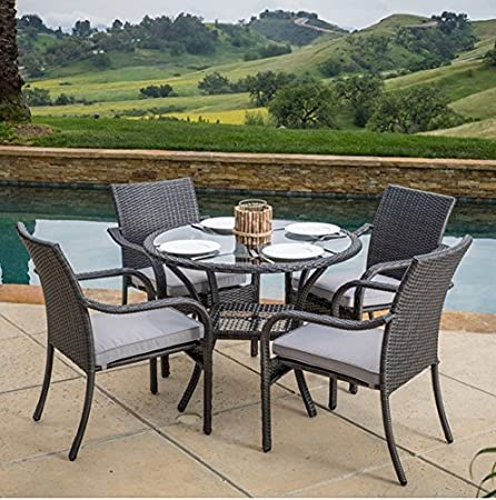 Williamson Patio Dining Set, Wicker, 5-piece, Includes Chair Cushions