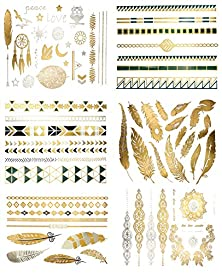 buy Premium Metallic Tattoos - 75+ Gold, Silver, Black & Shimmer Designs. Temporary Fake Jewelry Tattoos - Bracelets, Feathers, Wrist & Arm Bands, & More By Terra Tattoos™ (Chloe Collection)