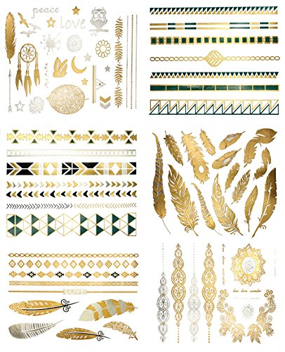 Premium-Metallic-Tattoos-75-Gold-Silver-Black-Shimmer-Designs-Temporary-Fake-Jewelry-Tattoos-Bracelets-Feathers-Wrist-Arm-Bands-More-by-Terra-Tattoos-Chloe-Collection
