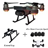 Hobby-Ace DJI Spark Accessories Height Extended Landing Gear Skids Legs Fast Clip on Quick Release and 4pcs Motor Cap Dust-Proof Motor Guards for DJI Spark (As Shown, DJI Spark Accessories) (Color: Dji Spark Accessories, Tamaño: As Shown)