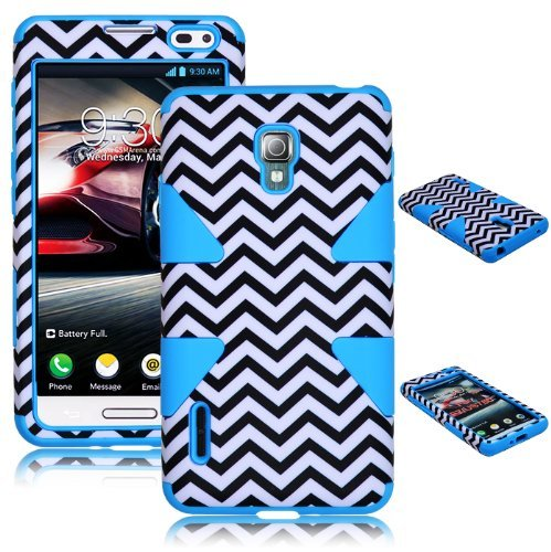 Bastex Heavy Duty Hybrid Case for LG Optimus F7 US780 Baby Blue Silicone / White & Black Chevron Hard Shell