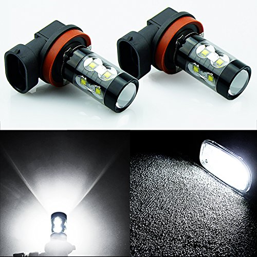 JDM ASTAR Extremely Bright All Size Max 50W High Power LED Bulbs for DRL or Fog Lights, Xenon White (H11) (2009 Toyota Highlander Fog Lights compare prices)