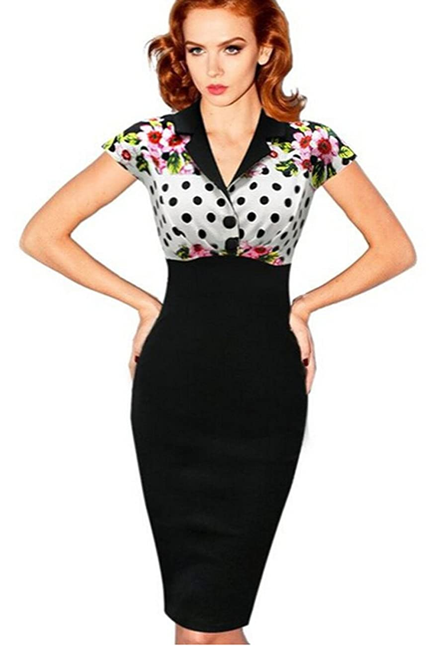 Viwenni Women's Vintage Colorblock Floral Party Cocktail Evening Pencil Dress 0