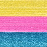 Solid Chloe Hair Tie Set - Banana, Neon Pink and Turquoise