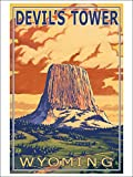 Devil's Tower, Wyoming (9x12 Art Print, Wall Decor Travel Poster)