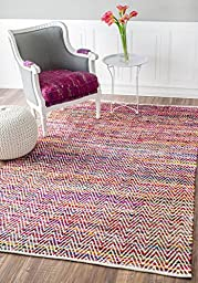 Hand Woven Candy Striped Chevron Magenta Area Rugs, 5 Feet by 8 Feet (5\' x 8\')